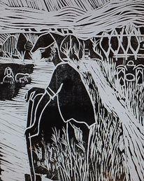 Linoldruck, Auf papier, Landarbeit, Druckgrafik