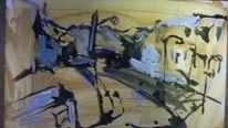 Landschaft, Pappe, Acrylmalerei, Malerei
