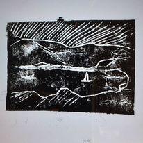 Tetrapackdruck, Landschaft, Pappe, Druckgrafik