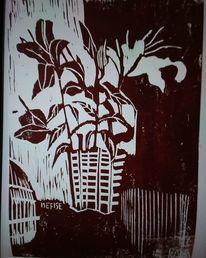 Holzdruck, Blumen, Lilien, Druckgrafik