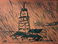Regen, Istanbul, Mädchenturm, Aquarell