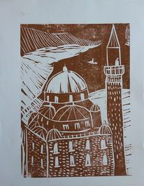 Drucktechnik, Moschee, Linoldruck, Druckgrafik