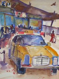 Flughafen, Sommer, Taxi, Aquarell