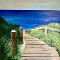 Gras, Blau, Meer, Urlaub