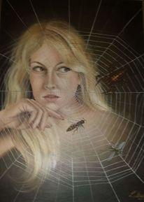 Spinne, Netz, Frau, Malerei