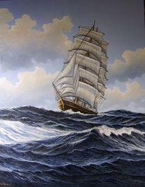 Nordsee, Wasser, Segelschiff, Malerei