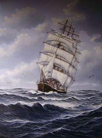 Welle, Segelschiff, Möwe, Malerei