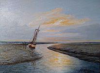 Kutter, Sonnenlicht, Wasser, Ostfriesland