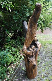 Skulptur, Frau, Vogel, Plastik