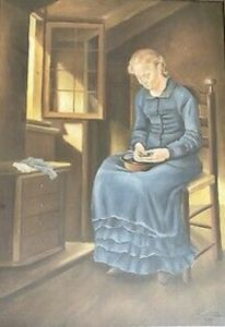 Frau, Fenster, Sonnenlicht, Malerei