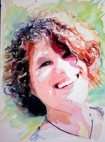 Frau, Portrait, Licht, Lachen