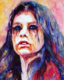 Aquarellmalerei, Portrait, Farben, Haare