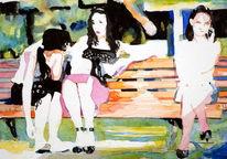 Aquarellmalerei, Frau, Bank, Aquarell