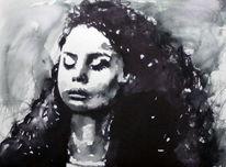 Ausdruck, Monochrom, Frau, Portrait