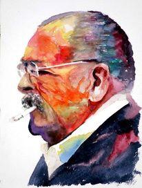 Mann, Brille, Aquarellmalerei, Farben