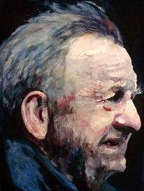 Aquarellmalerei, Mann, Ausdruck, Portrait