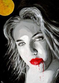 Mond, Acrylmalerei, Portrait, Blick