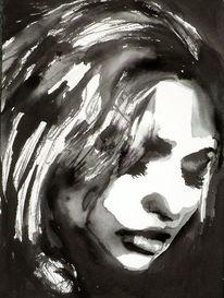Blick, Monochrom, Aquarellmalerei, Frau