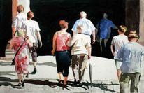 Licht, Schatten, Menschen, Aquarellmalerei