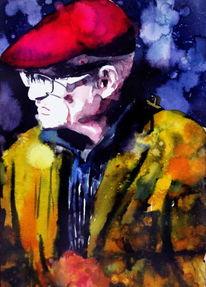 Mann, Hut, Farben, Brille