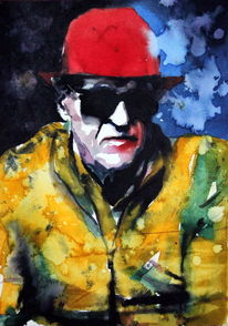 Hut, Farben, Mann, Brille