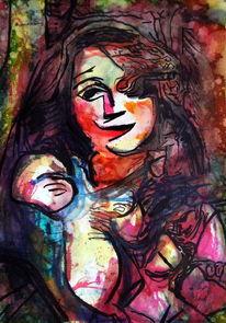 Frau, Farben, Menschen, Mischtechnik