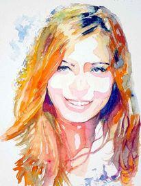 Haare, Portrait, Blick, Farben