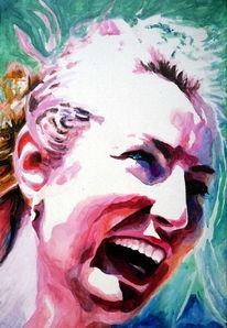 Acrylmalerei, Frau, Lachen, Portrait