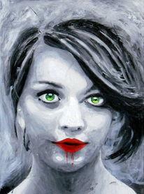 Lippen, Frau, Grün, Augen