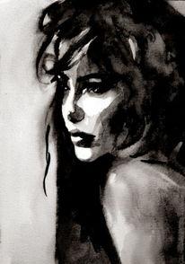 Frau, Gesicht, Monochrom, Blick