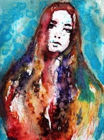 Menschen, Farben, Abstrakt, Frau