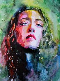 Portrait, Blick, Farben, Gesicht