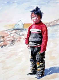 Kind, Tibet, Aquarellmalerei, Menschen