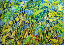Blau, Abstrakt, Surreal, Gelb