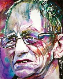 Brille, Mann, Farben, Aquarellmalerei