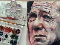 Gesicht, Portrait, Mann, Aquarellmalerei