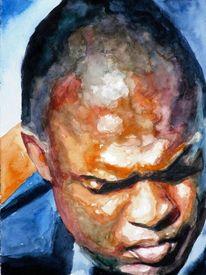 Kopf, Aquarellmalerei, Mann, Blick