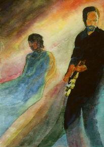 Farben, Aquarellmalerei, Musik, Gitarre