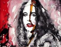 Portrait, Ausdruck, Aquarellmalerei, Haare