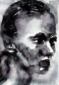 Frau, Portrait, Monochrom, Blick ausdruck