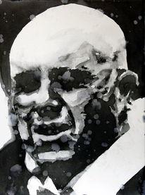 Aquarellmalerei, Mann, Gesicht, Portrait