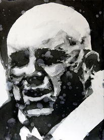 Monochrom, Mann, Aquarellmalerei, Gesicht