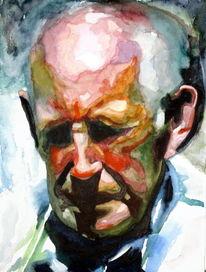 Farben, Menschen, Aquarellmalerei, Alter mann