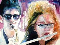 Musik, Menschen, Aquarellmalerei, Portrait