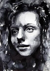 Frau, Monochrom, Gesicht, Blick