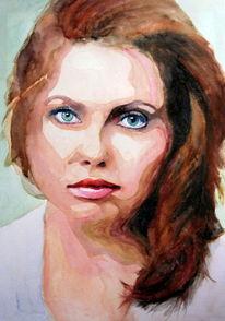Aquarellmalerei, Portrait, Blick, Ausdruck