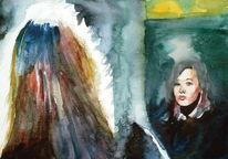Licht, Frau, Spiegel, Portrait