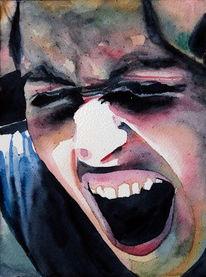 Angst, Aquarellmalerei, Portrait, Schrei