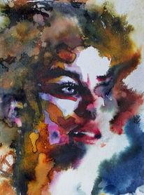 Menschen, Aquarellmalerei, Blick, Farben