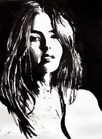 Gesicht, Portrait, Aquarellmalerei, Menschen